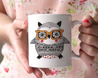 Coffee Mug Owl with Glasses Coffee Cup
