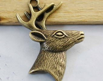 4pcs Antique Bronze Antler Deer Stag Charm Pendant for Necklace 40x55mm F102-3