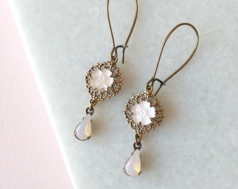 Opal Pink Earrings - Light Pink - Dangle Earrings - Frosted Flowers - Duchess Earrings (SD1298)