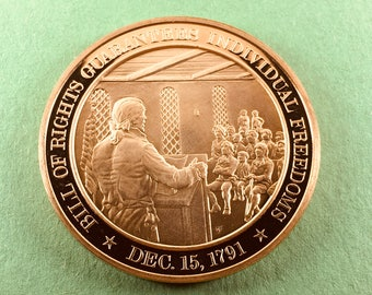 Franklin Mint Medal History Of United States Bill Of Rights Guarantees Individual  Freedoms  1791, 44 mm Bronze Mint Condition<>#PSY-225