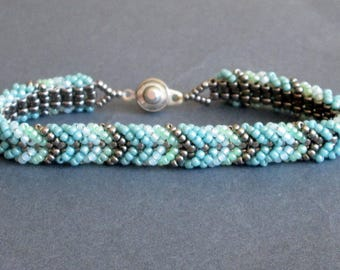 pastel bracelet, seed beads. teal bracelet. womens bracelet. gift for her. beaded bracelet. tribal bracelet. seed bead jewelry,
