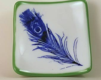 Screen Printed Blue Feather  on White and Green Fused Glass Catch All Dish