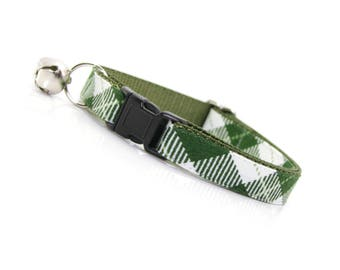 """Plaid Cat Collar - """"Galway"""" - Green Cat Collar Breakaway / Boy Cat Collar / Kitten Collar / Male Cat / Cat, Kitten & Small Dog Sizes"""
