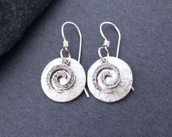 Genuine Diamond Pave Earrings Swirl Spiral Dangle Earrings with Sterling Silver Round Discs April Birthstone Modern Greek Goddess Jewelry