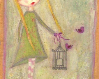 ART PRINT - CLEMENTINE  Mixed Media Whimsical Art Girl with Birds Print A4 size Free local Postage