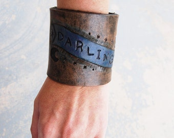 """Tooled Leather Cuff Bracelet - """"Darling"""" Banner in Rustic Black Leather -  Custom Made to Order"""
