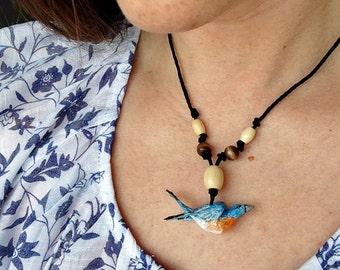 Paper Mache Bluebird Necklace