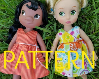 Tutti Fruity Wrap Dress SEWING PATTERN for Disney Animator Dolls, Sewing Pattern, Doll Clothes, 16 in Doll Clothes, Dress Pattern, Summer