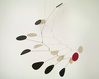 "Modern Hanging Black and Red Allure Mobile Art Sculpture Medium 30""x25"""