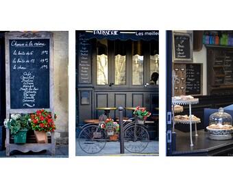 paris kitchen photography set set of 3 prints blue paris cafe bicycle 8x10 11x14 16x24