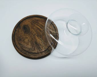 Gailstyn-Sutton Teak with Glass Cloche Cheese tray/board/plate