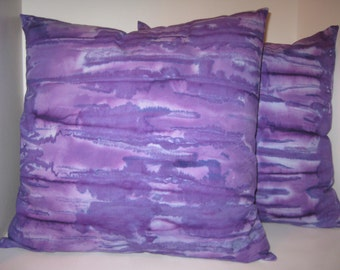 Handmade batik/tie dyed purple pillow cover