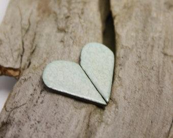 MInty Heart Earrings/ Silver earrings/ Stud earrings/ Heart jewelry/ Ceramic earrings/ Great valentines day or mothers day gift