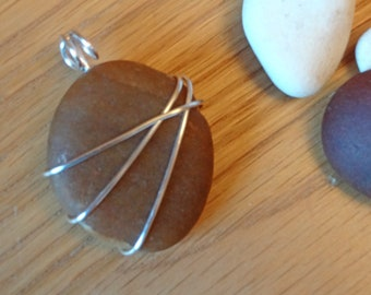 Wire wrapped brown pebble pendant necklace, Gift for her.