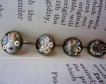 Clockwork Steampunk mini stud earrings.