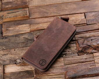 Long Wallet Personalized Monogrammed Engraved Zipper Closure Leather with Wood Gift Box Breast Wallet, Cell Phone Wallet