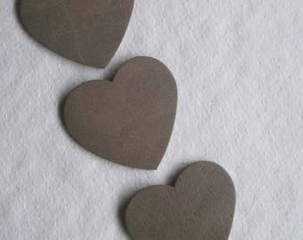 set of 3 hearts #19 leather
