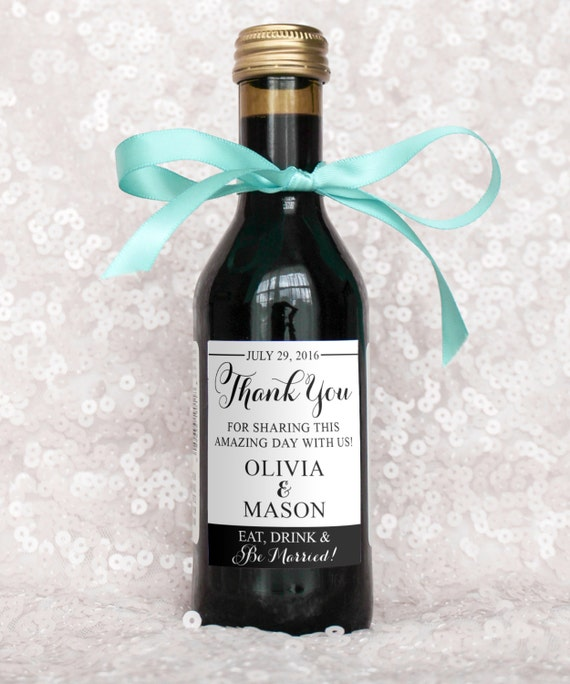 Wedding Favor Mini Wine Bottle Labels Diy Digital File