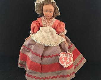 Vintage Abert Doll in Red Dress, Made in Belgium, Hard Plastic