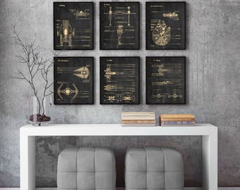 Set Of 6 Prints,Star Wars,blueprint,parchment,Science,Student,