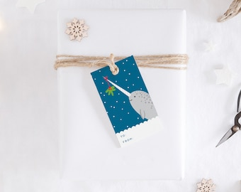 Narwhal Holiday Gift Tag Set - 3 Designs