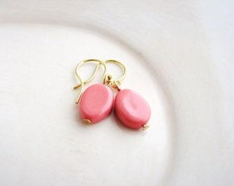 Pink Bead Earrings, Dangle Earrings, Minimalist, Handmade Earrings, Glass Bead Earrings