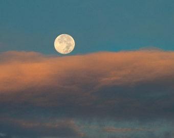 Lake Erie Moonrise Sunset, Size 5x7 inches, Moon Photo, Moon art, Sunset Art, Sunset Photo