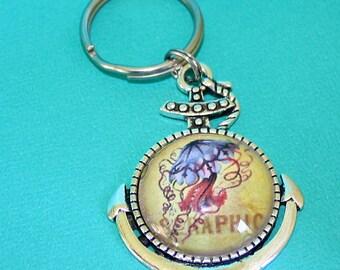 Méduse collier d'ancrage ou porte-clé - pendentif Cabochon en verre - vous choisissez le collier ou porte-clés