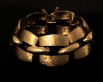 Vintage MONET Bold Brushed Gold Wide Link Bracelet