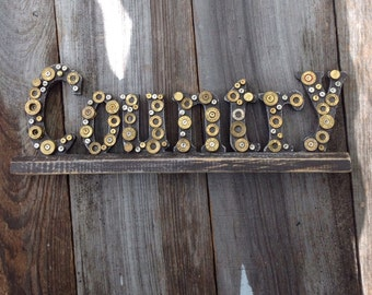 Wooden country sign with spent brass shell casings/ free standing sign/ country sign/ rustic sign/ bullets/ man cave gift/ gifts for men