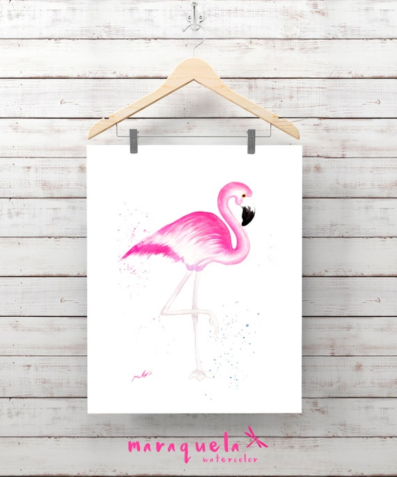 FLAMINGO Original WATERCOLOR hand-madeBird Animal Wall Art Home Decor Tropical Pink Flamingo gift ideas for her, flamingo art  Zen painting