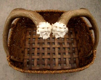 Handmade Reed Basket With Antler Spirit Carvings, Shed Mule Deer Antler Handled Newspaper Basket,OOAK