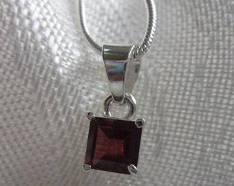 Square Garnet Gemstone, Silver Pendant Necklace **Free Shipping