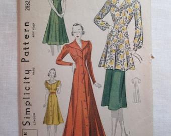 "Antique 1930's Simplicity Pattern #2832 - size 36"" Bust"