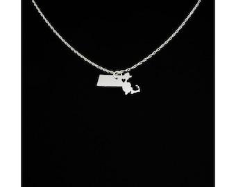 Massachusetts Necklace - Massachusetts Jewelry - Massachusetts Gift - Christmas Gift