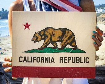 California Flag, California Print, Print On Wood, California Wall Art, California Bear Print, California Bear, California Wall Decor