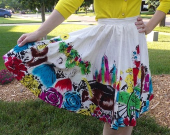 hand painted 1950's MEXICAN CIRCLE SKIRT 50's full xxs xs 23 waist (D8)