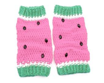Pink Watermelon Legwarmers Girls Leg Warmers Crochet Legwarmers Fruit Boot Socks Warm Leg Warmers Christmas Gift for Her Melon Leg Warmers