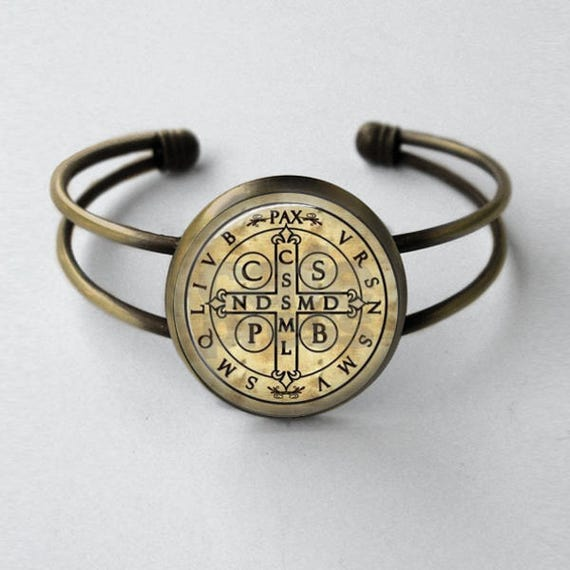St Benedict Medal Bracelet, antique bronze - Catholic Jewelry Gift - Cuff Bracelet - Saint Benedict Medal Cuff Bracelet - Devil chaser medal