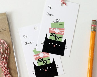 Cute Cat Gift Tags - Black Cat Birthday Christmas Gift Tag - Pack of 10 with Twine - Birthday Tag Set - Christmas Gift Tag Set - Cute Gift