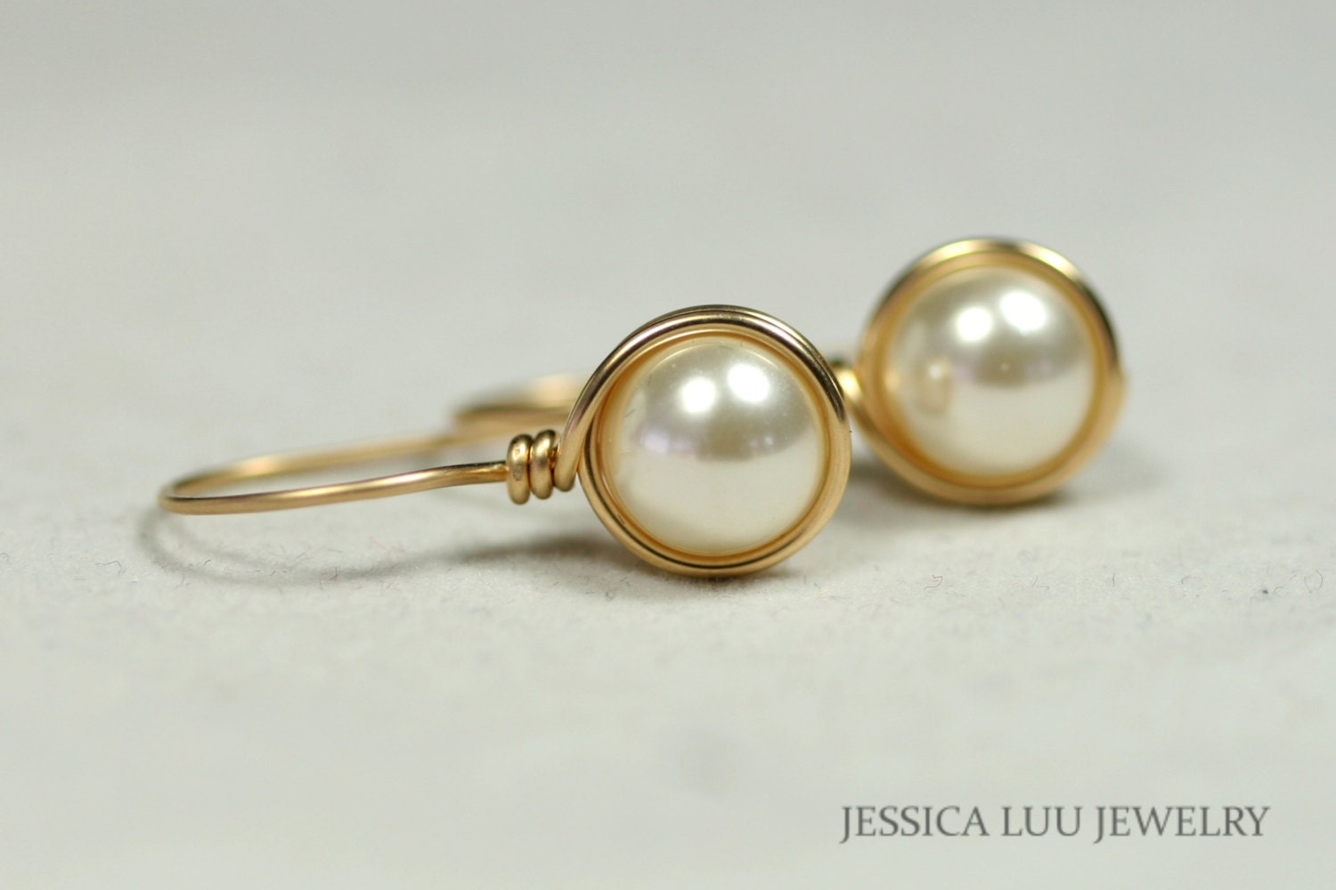 Gold Ivory Pearl Earrings Wire Wrapped Jewelry Handmade Bridal