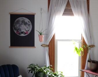 Magnetic Poster Hanging Frame - Oak Natural Wood Poster Hanger Artwork Canvas Quilt Holder Wooden Wall Hanging Handmade