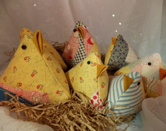Upcycled Chick Mama Chicks Baby Chicks Upcycled Old Quilt Chick Pincushion or Basket Filler Quilt Chick Repurposed Upcycled