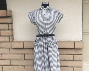 Vintage 50s Dress Gray Striped Shirt Waist Dress Size Extra Small