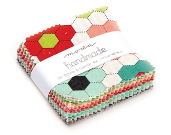 Retro Style fabric, MIni Charm, Handmade Collection Mini Charm Pack, Bonnie and Camille by Moda, 2.5 inch squares of Entire Line