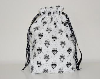 DrawString storage bag, toy - cotton patterns raccoons bag / 0004