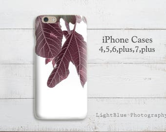 Leaf iPhone 7 case Leaves iPhone 6 case Purple iPhone 5 case Botanical Photo Print Soft Silicone case gift for her Wife gift