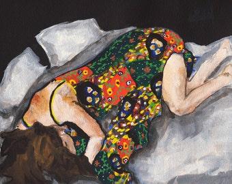 Restful - 5 x 7 Giclee Art Print, Figurative Art, flower, pattern, sleeying, bedroom decor