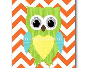 Owl Decor Owl Nursery Baby Nursery Decor Baby Boy Nursery Kids Wall Art Kids Art Baby Room Decor Nursery Print Owl Orange Blue Green