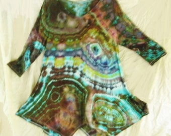 Extra Large Geode Tied Tunic Ice Dyed